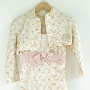floral embroidered sleeveless dress/ jacket